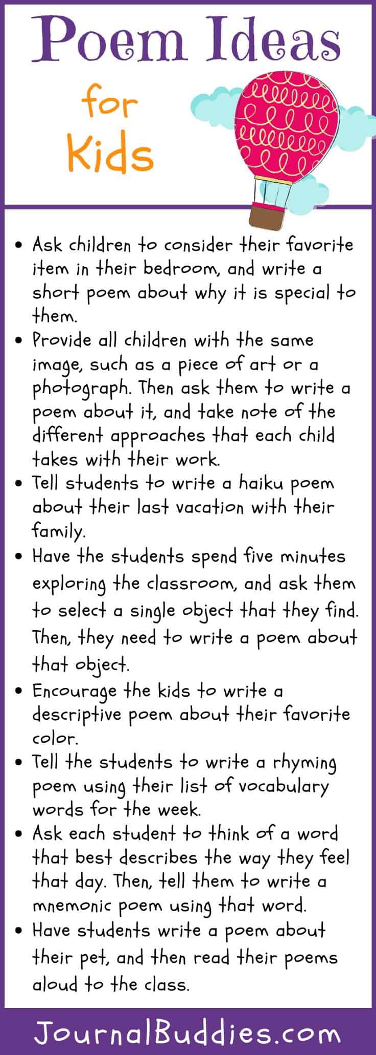 Poem Ideas For Kids Journalbuddies Com Before doing any writing, you need to decide what kind of poem to write. poem ideas for kids journalbuddies com