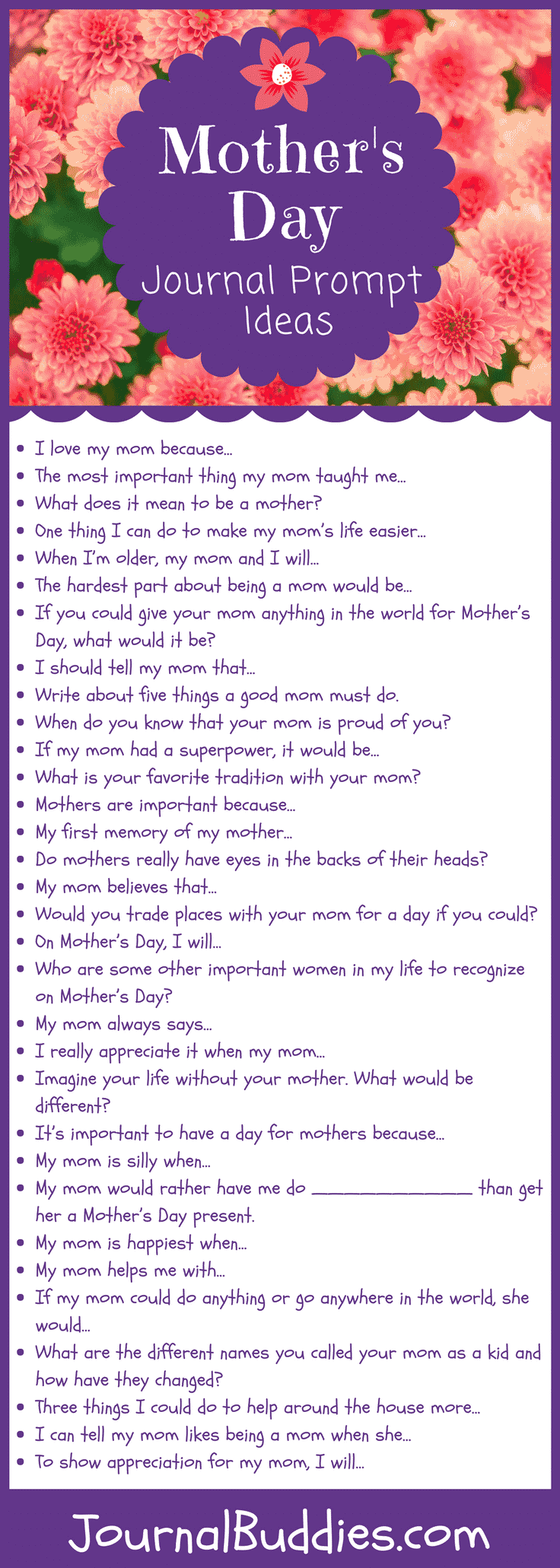 Get students ready for Mother's Day with this set of inspired journal prompts. They'll enjoy the chance to write about such a personal topic that is so close to their hearts.
