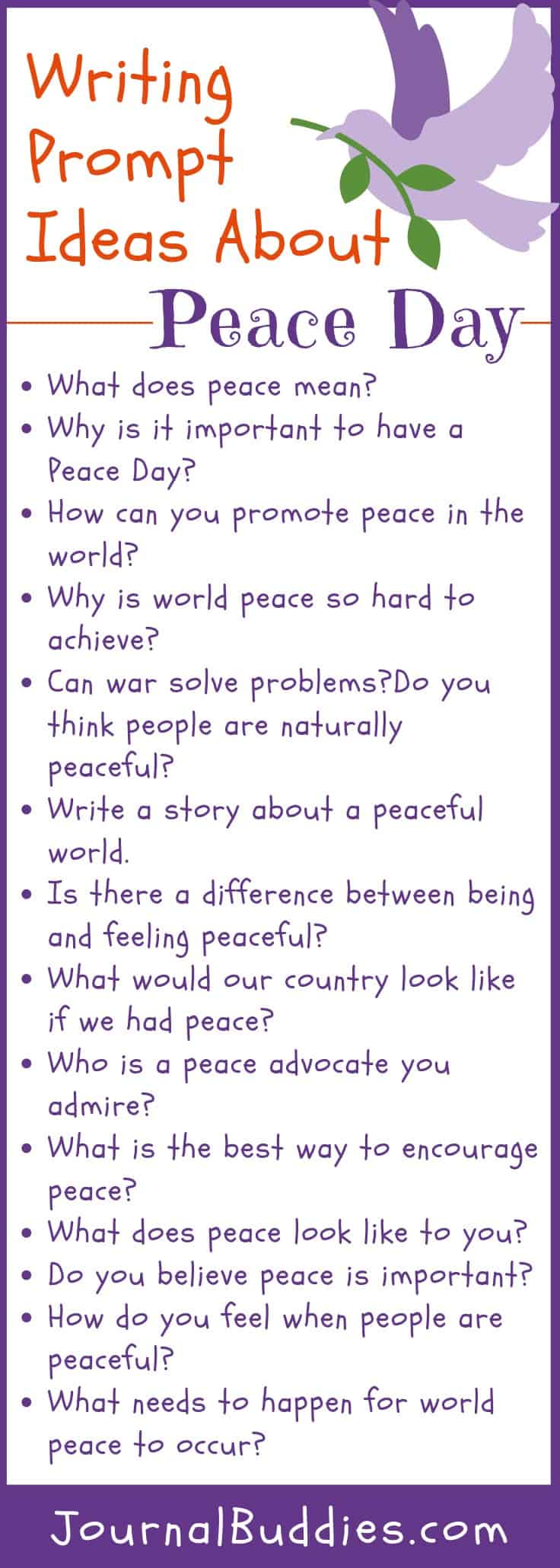 International Day of Peace Writing Ideas for Kids
