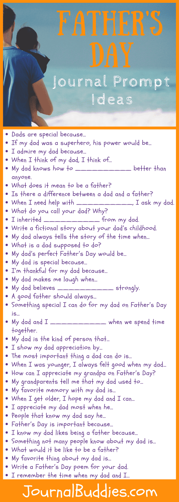 Father's Day Journal Writing Prompts