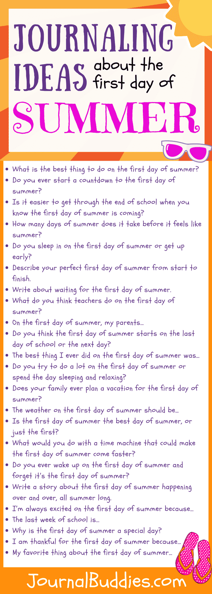 Summer Journaling -- With this list of prompts, indulge your students' anticipation by giving them the chance to daydream about the first day of summer.