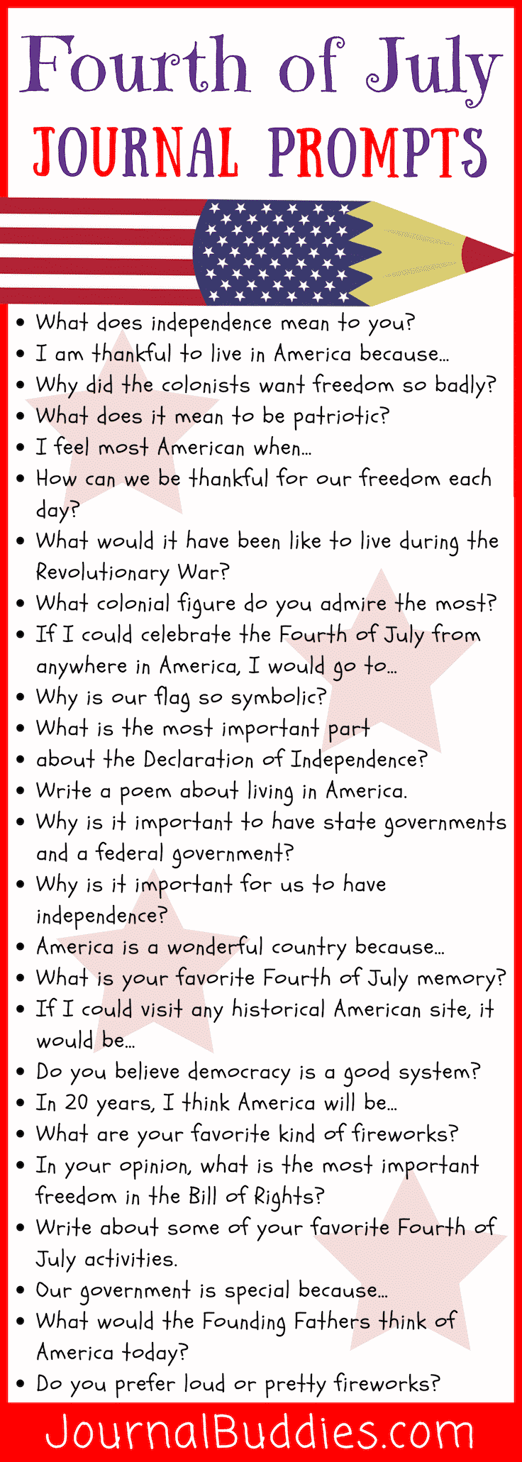 Set students' writing off with a bang with these Fourth of July journal prompts. Their thoughts may prove to be revolutionary or worthy of celebration!
