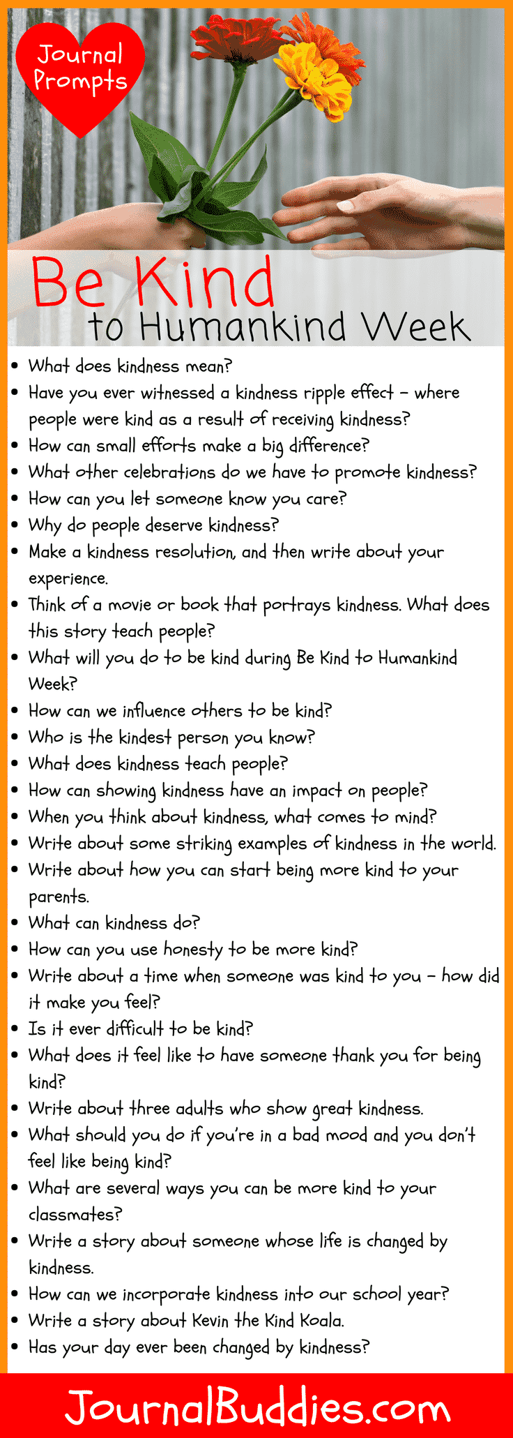 Writing Exercises about Kindness to be Used During Be Kind to Humankind Week