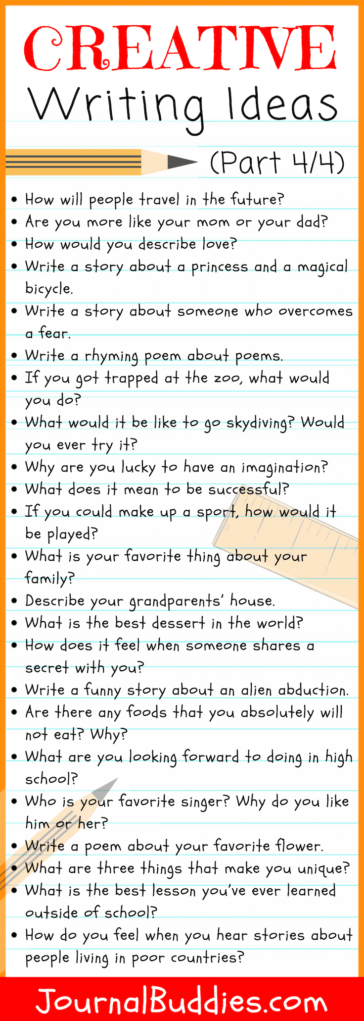 With this list of fun, playful, and creative writing prompts to spark the imagination and get the creative juices flowing, writers of all ages will be able to refine and deepen their creative writing skill and ability in no time.