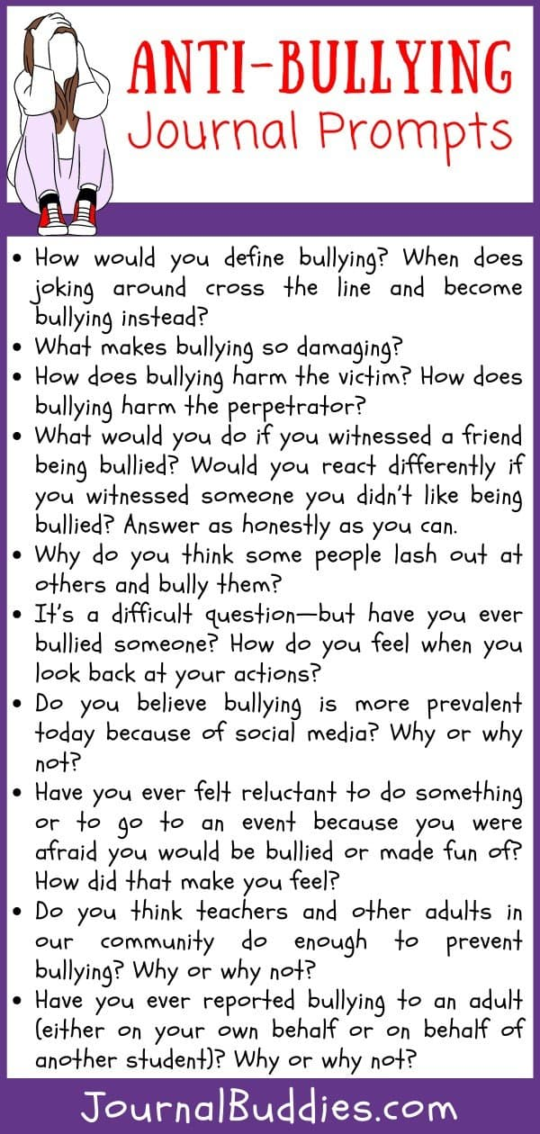 Journal Ideas to Reduce Bullying