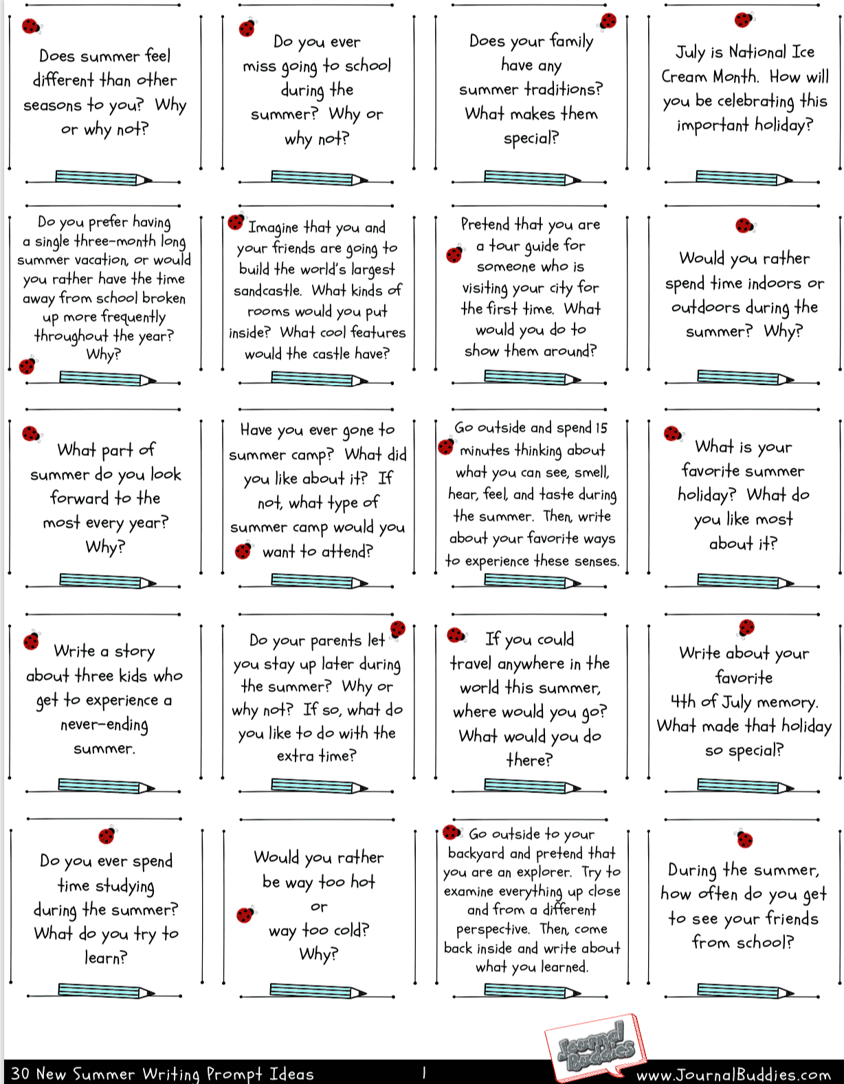 Summer Writing Topics Free Printable Page