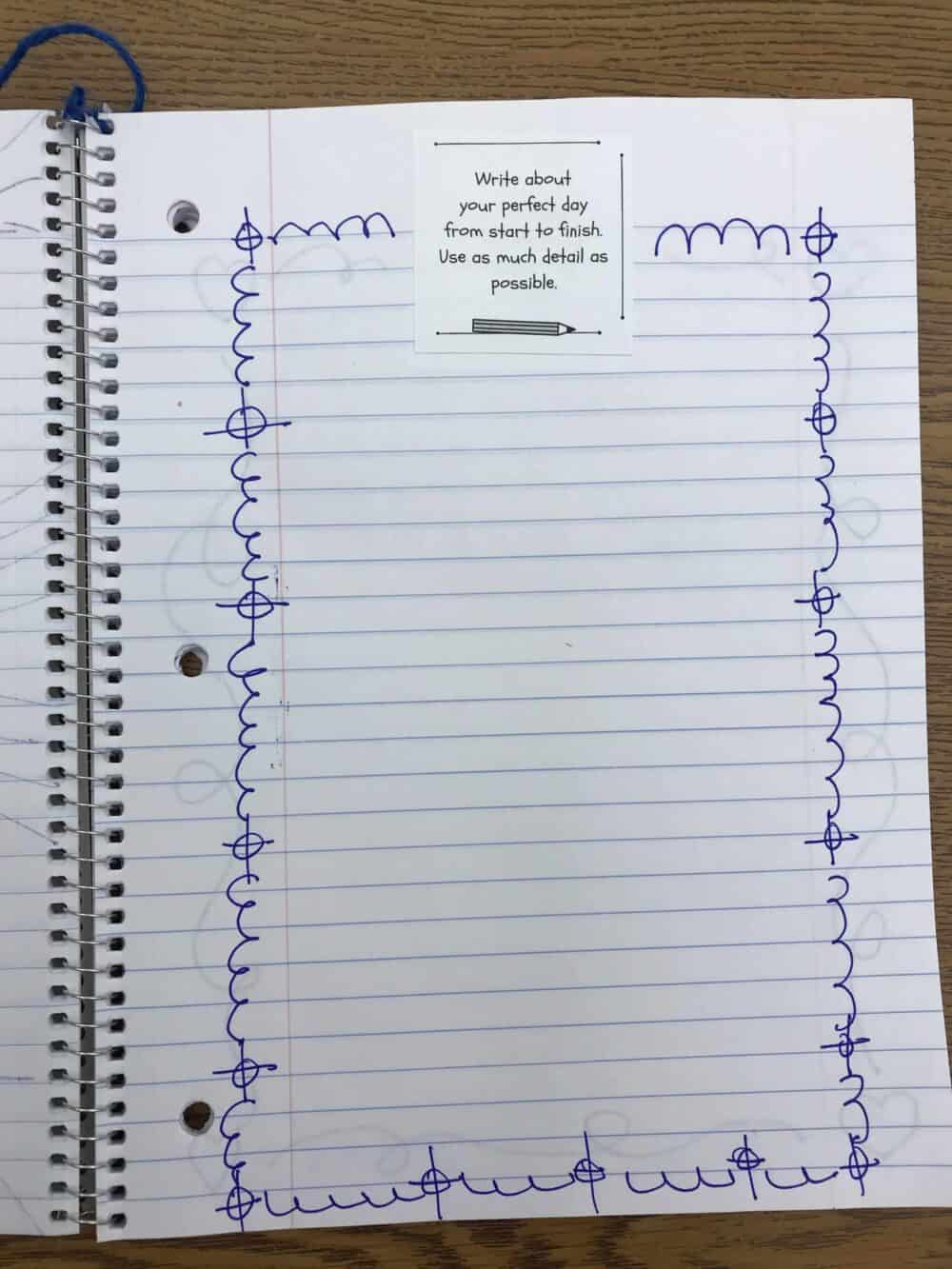 Student Summer Writing Journal Page Example