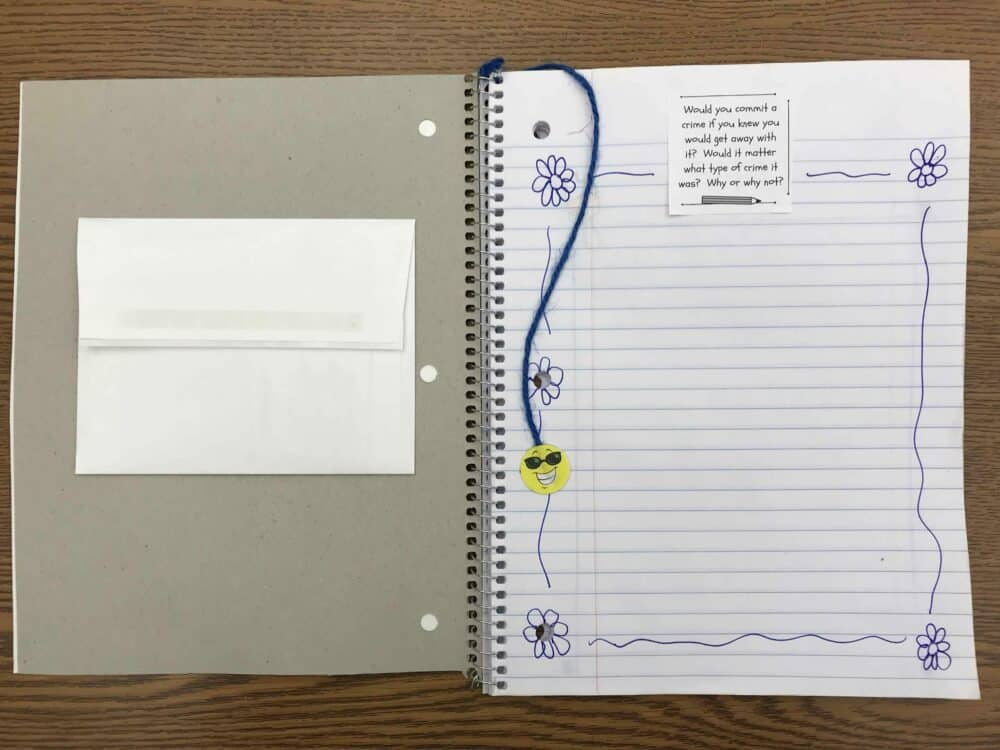 Student Summer Writing Journal with Topics