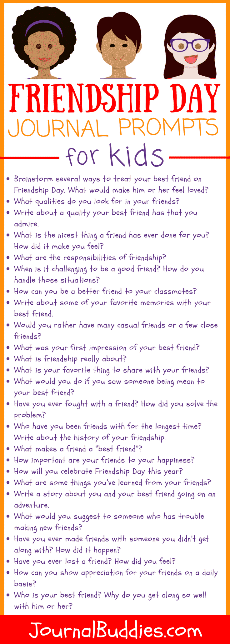 With these 54 new journal prompts, kids can think about the best qualities of their friends and the meaning of their relationships.