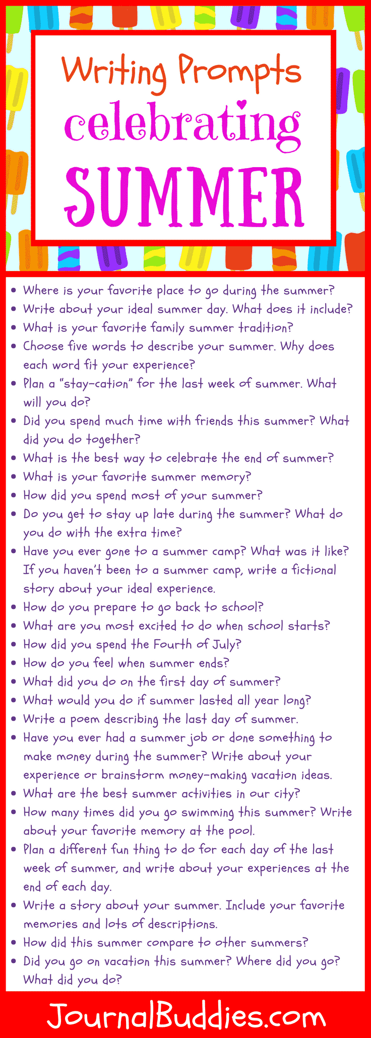 In these 53 new journal prompts celebrating the end of summer, kids will consider their favorite summer activities and their ideal summer days. They'll think about the feelings they get on the day before school starts and the fun they had during summer's first week.