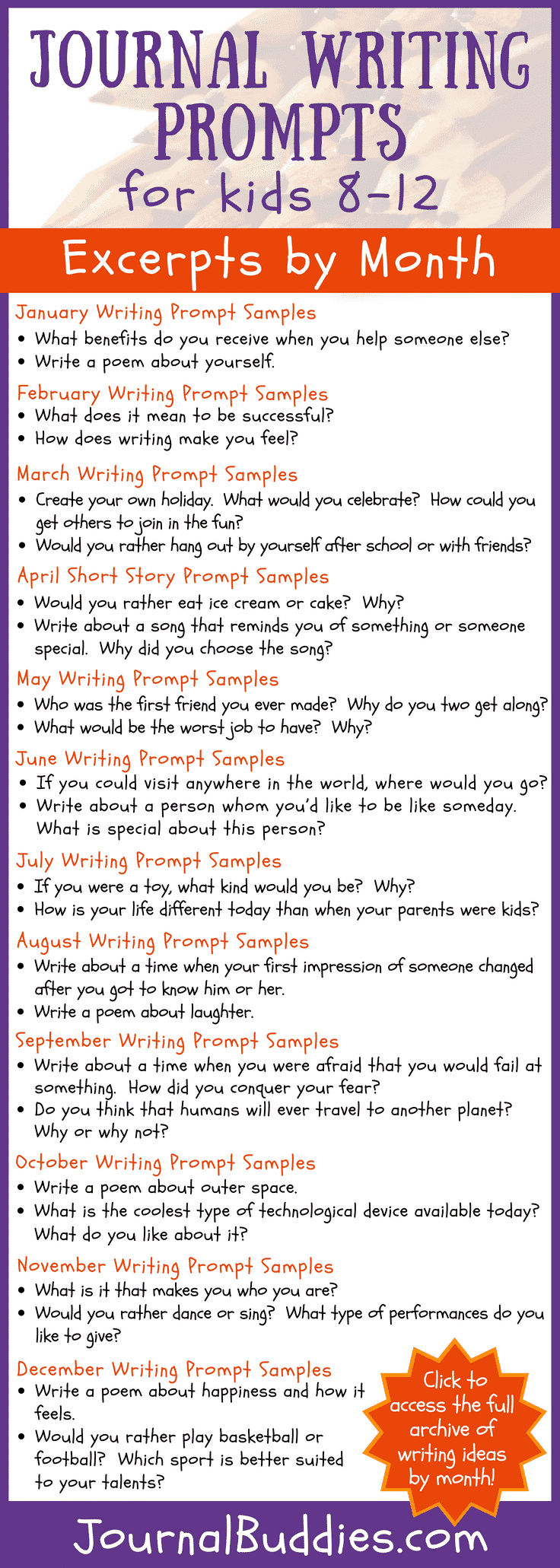 This exciting new list of 365 prompts will take kids through an entire year of fun, reflective journaling!