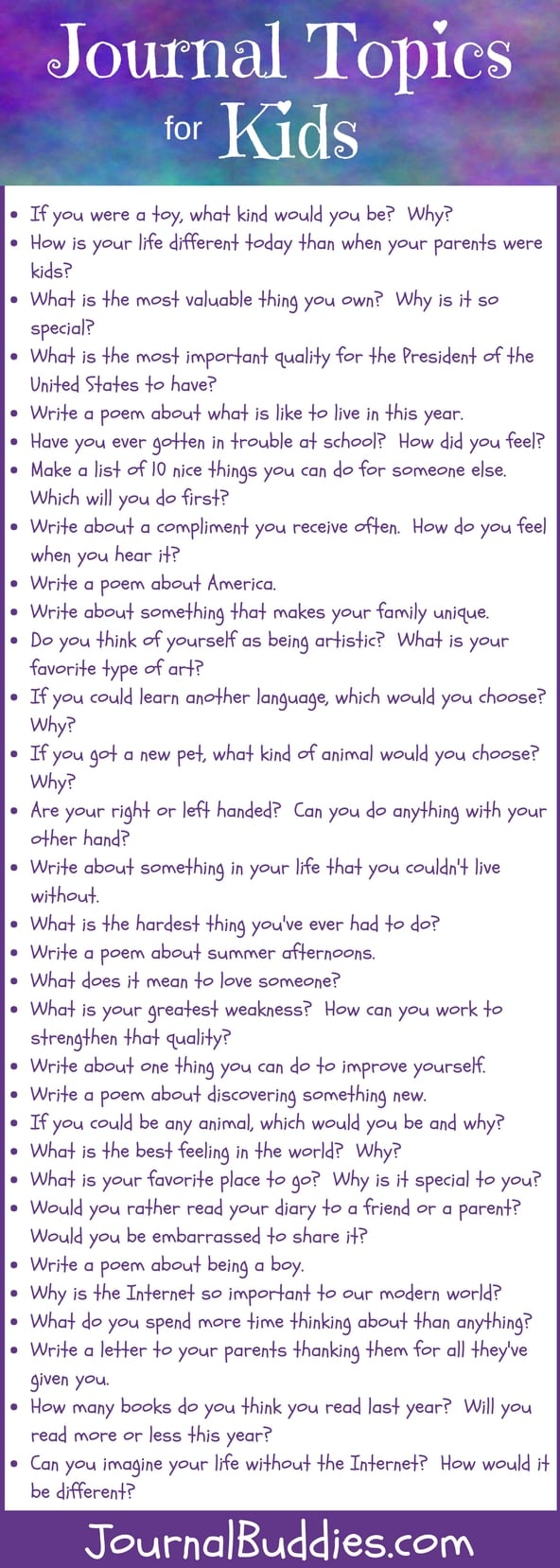 Check out these 31 journal writing topics to inspire your kids to write! Journaling is an aid to a growing child's sense of self and helps them make decisions about their future and take action toward securing that future for themselves: all ways of reinforcing and increasing self-esteem and self-confidence.