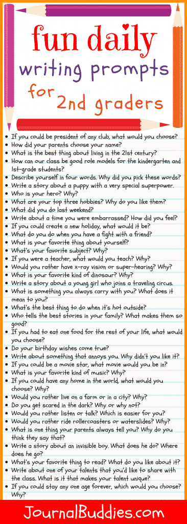 Use these daily writing prompts for 2nd grade students as a fun way to get your class interested in writing and to help them develop their language skills.