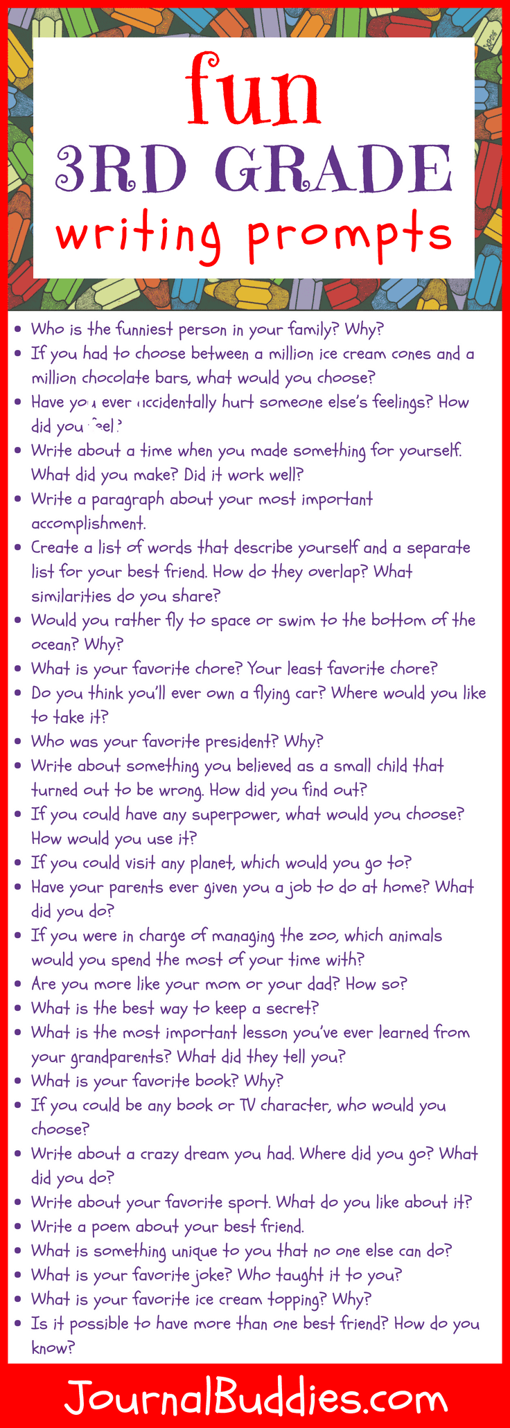 Use these third grade writing prompts to help maturing students unpack their thoughts each day.