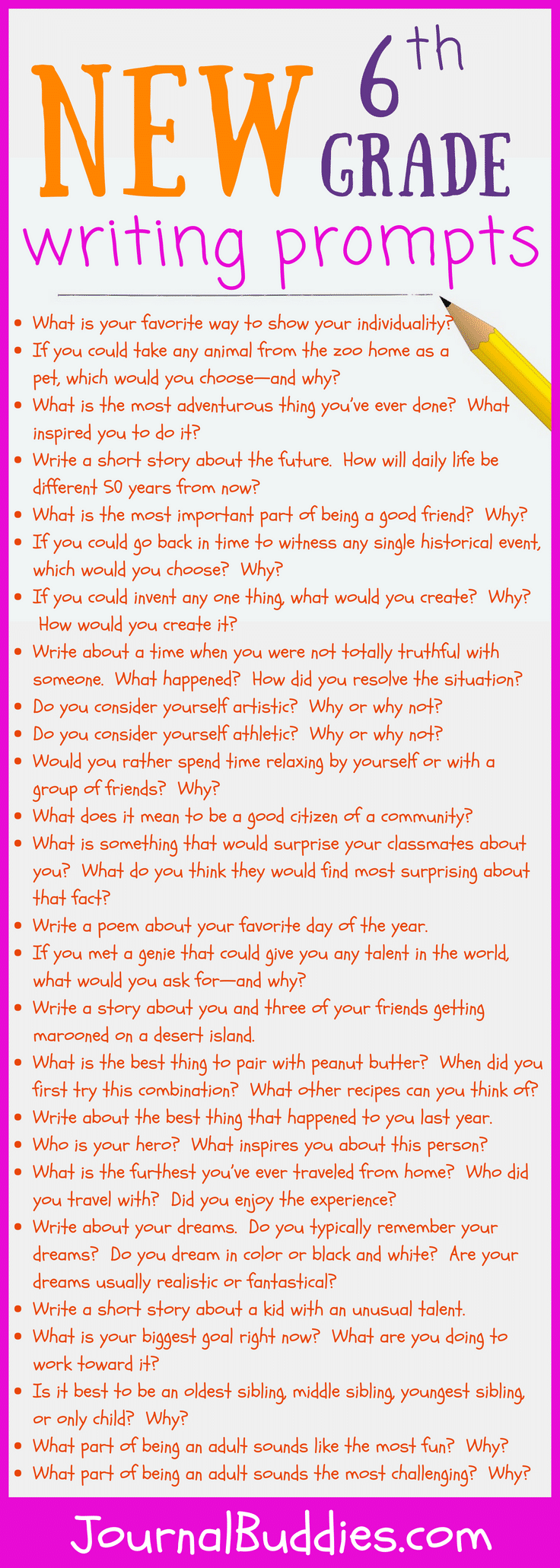 37 New Sixth Grade Writing Prompts • JournalBuddies com