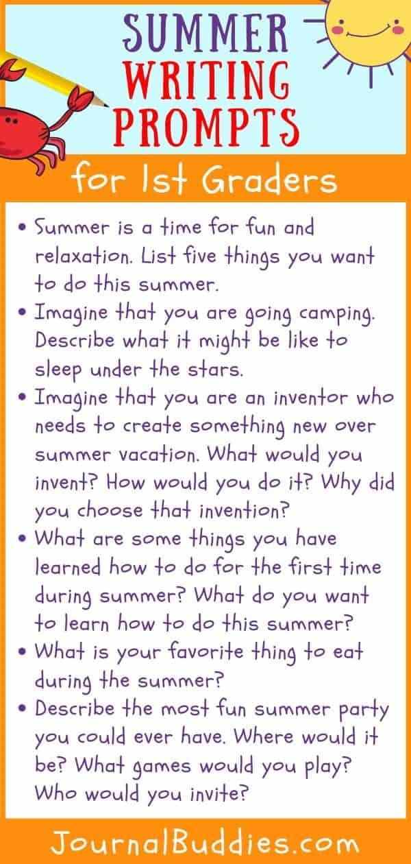 Grade 1 Summer Writing Ideas