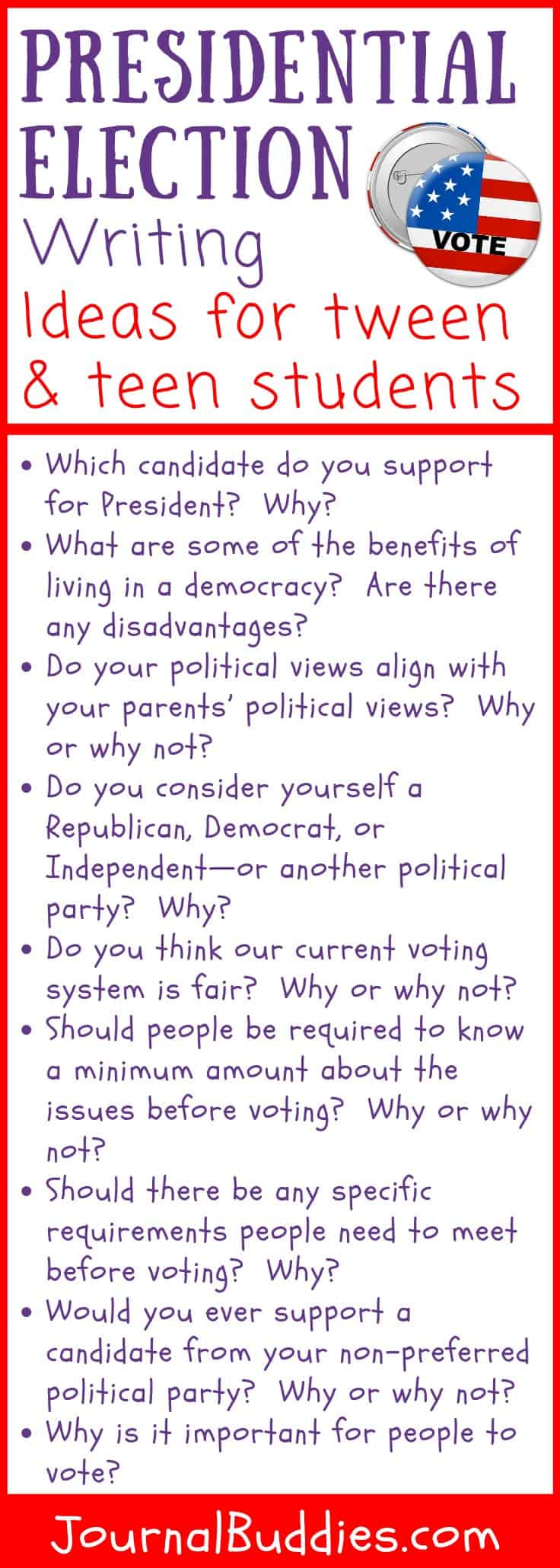Writing Prompts for Students about Presidential Elections