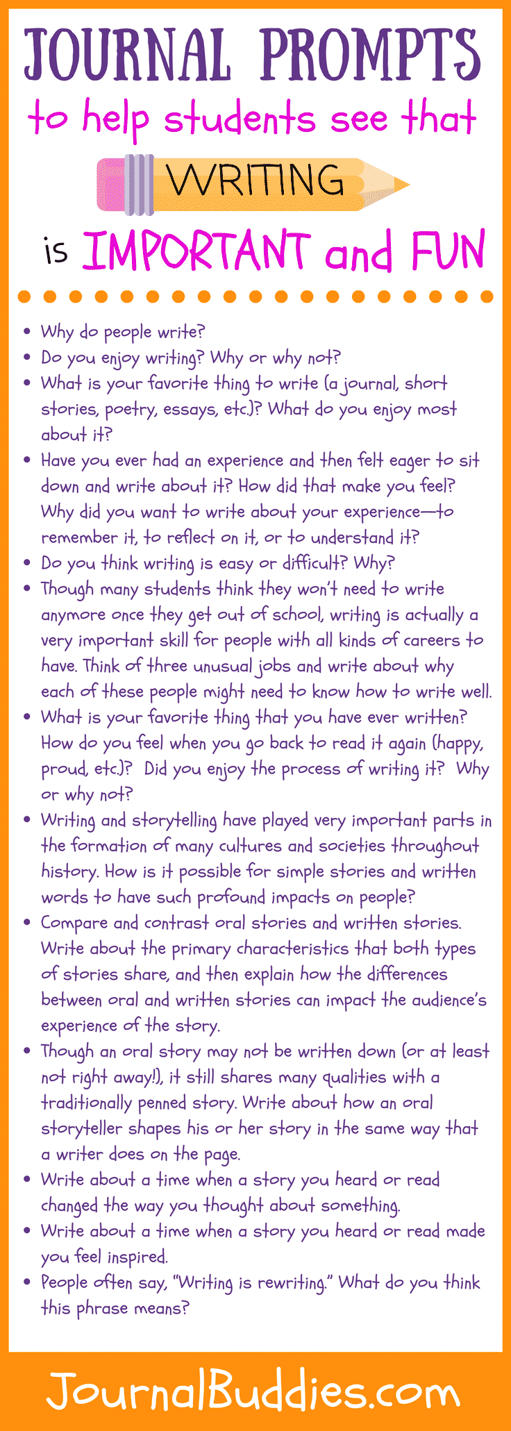 These 31 new journal prompts help kids see that writing matters by exploring themes like the importance of storytelling and how writing is used to disseminate ideas—and they also show how fun writing can be by asking them to reflect on topics like the most inspiring stories they've ever heard and the pride they feel when reading their own writing