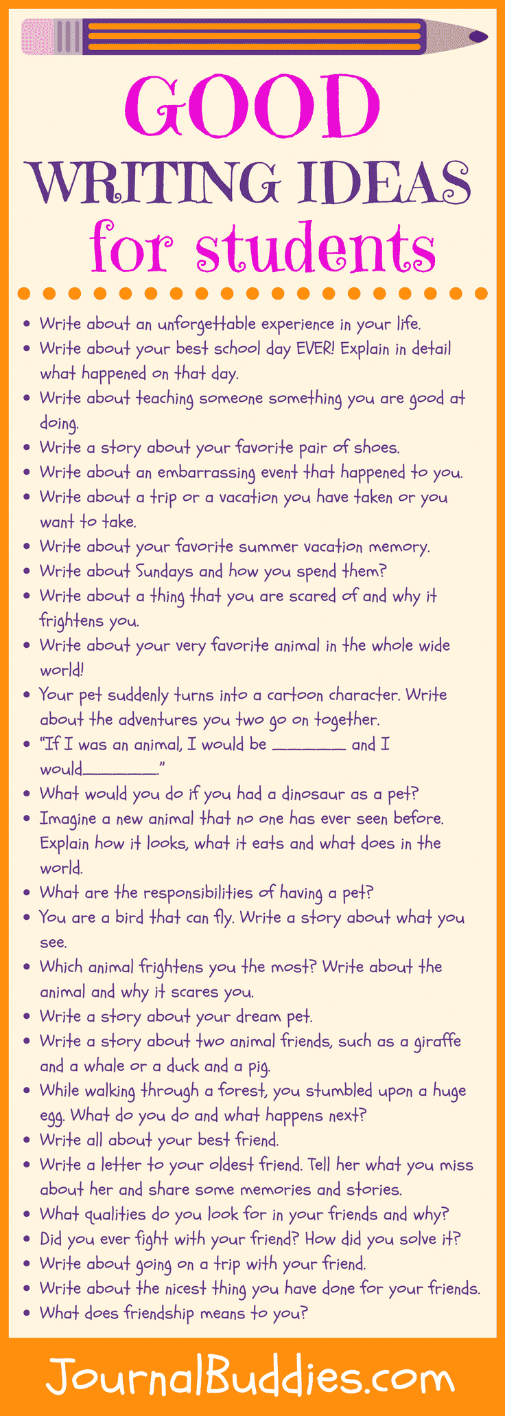 Encourage kids to stretch their imagination and go deeper into their creativity with these good writing ideas. Children who write consistently tend to have a strong sense of self-confidence in their ability to creatively express their thoughts, ideas, and opinions.