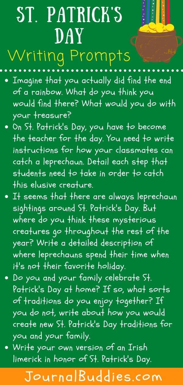 Kids Writing Prompts for St Patrick's Day