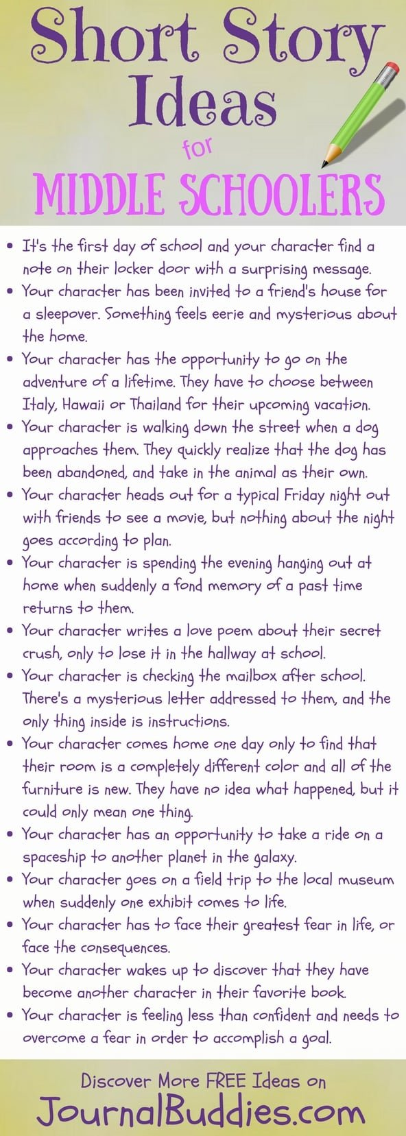 Check out these fun and fabulous short story writing prompts for middle school students.