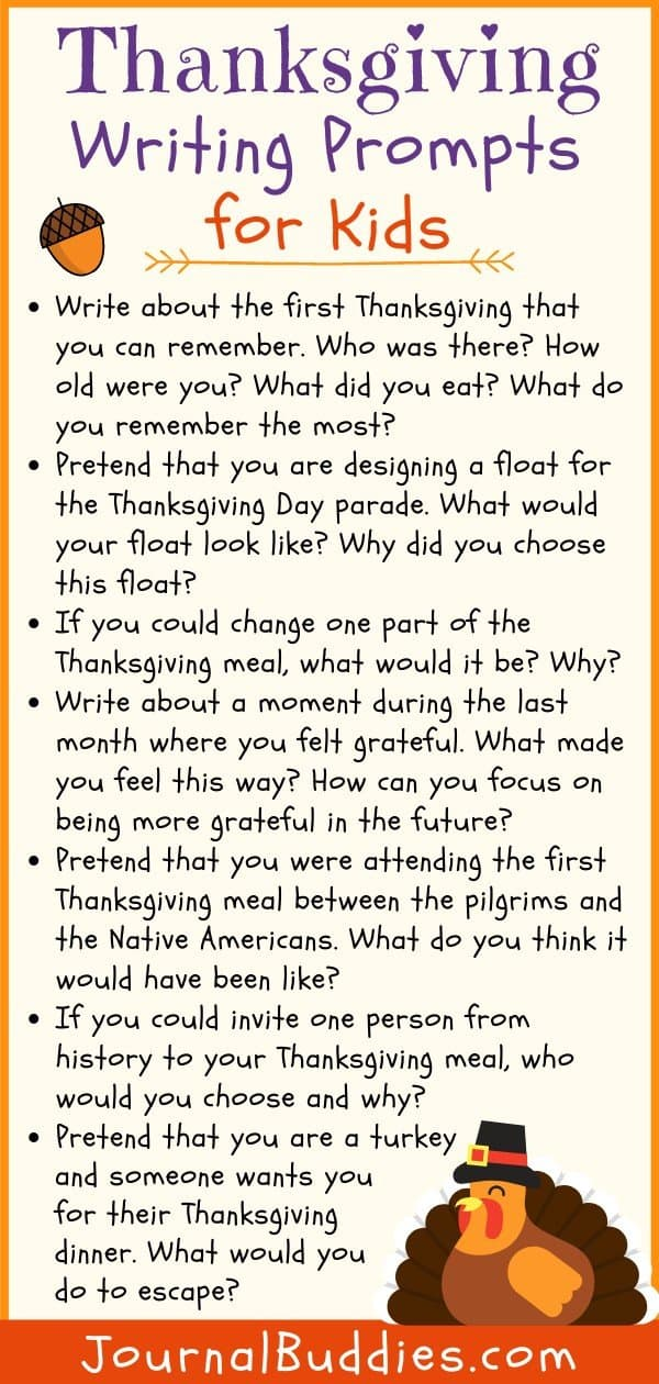 Kids Writing Prompts for Thanksgiving
