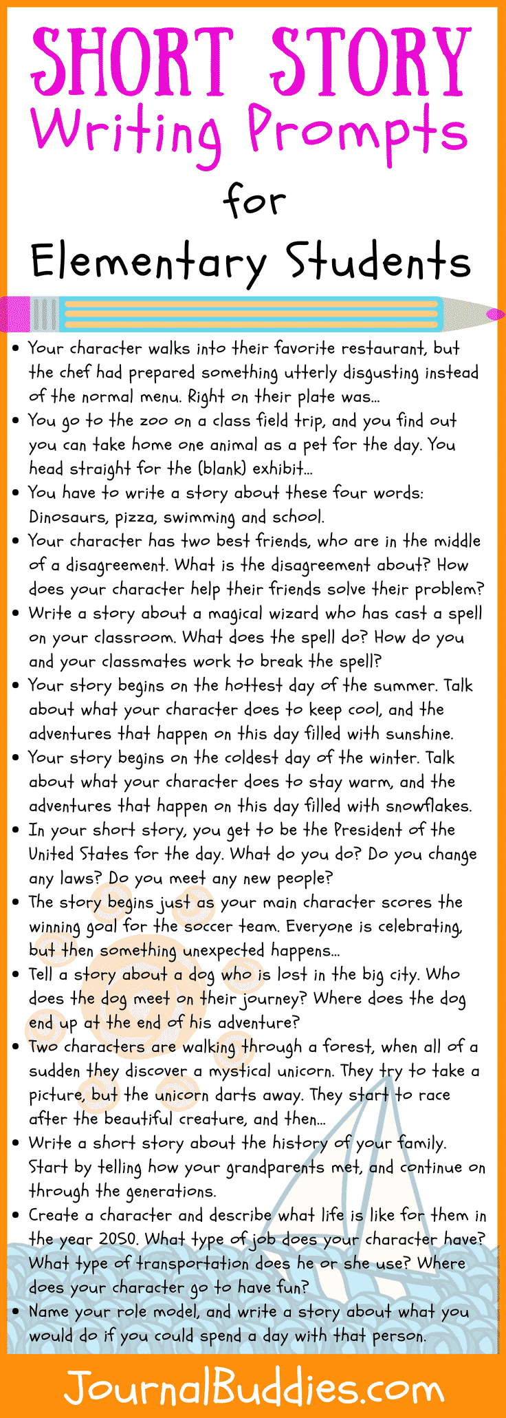 Use these short story writing prompts to encourage your students to think creatively and to give them an opportunity to develop their own characters and plot lines.