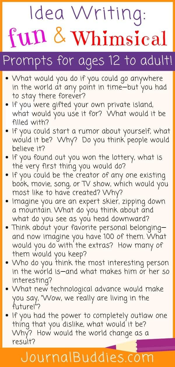 Fun & Whimsical Idea Writing Starters