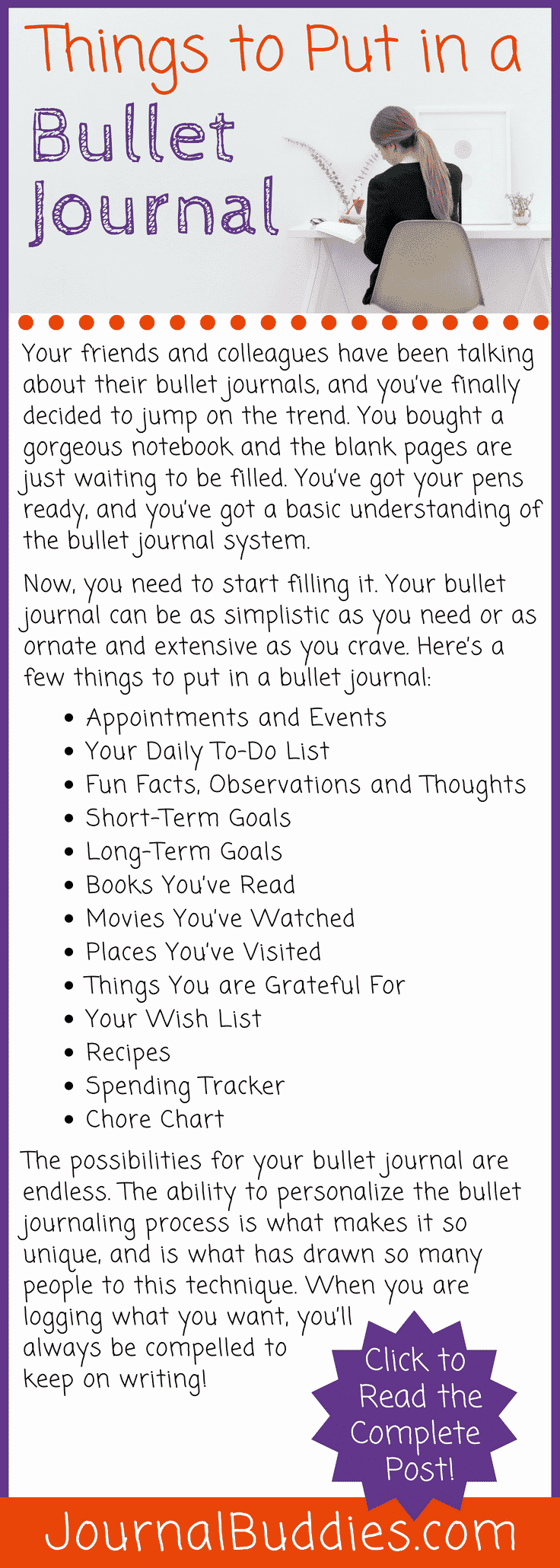 The possibilities for your bullet journal are endless. The ability to personalize the bullet journaling process is what makes it so unique and is what has drawn so many people to this technique.