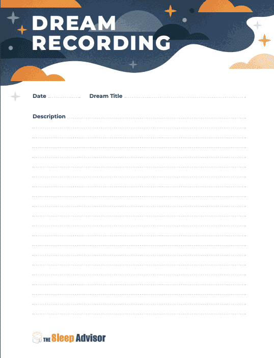 Dream Recording printable journal page