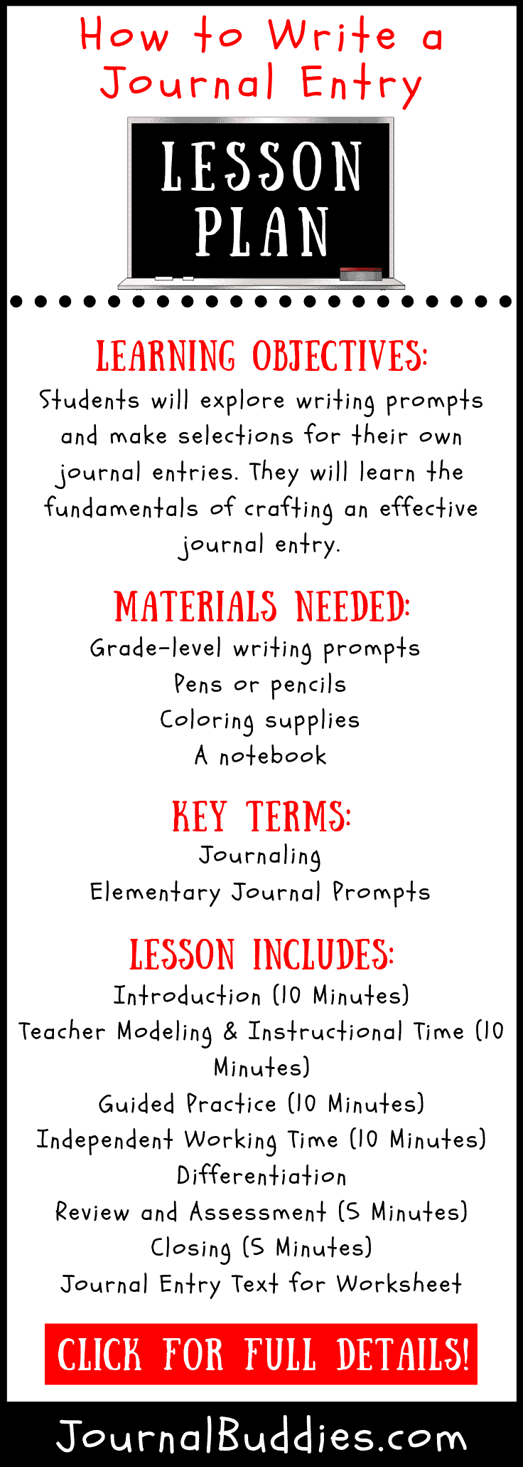 Journal Entry Writing Lesson Plan for Teachers