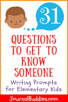 New and fun! These 31 new journal prompts are made up of popular questions that students may use to get to know someone. The personal nature of these prompts is the perfect way to get kids interested in journaling.