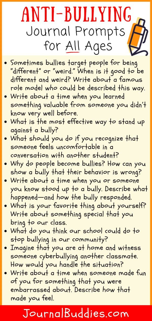 Bullying Prevention Journal Ideas for Students
