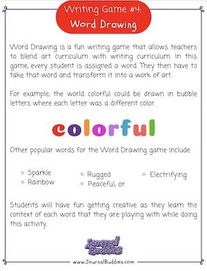 Writing Game 4 Click for Printable PDF