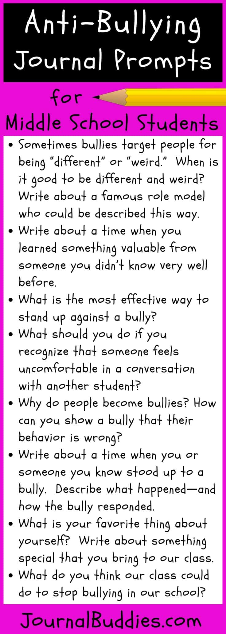 We recommend asking your students to journal about topics related to anti-bullying. As kids write and reflect on how they can better foster acceptance in the classroom, they'll become more prepared to recognize bullying when it first starts to happen—and they'll be ready to actively work against it. Here are 10 effective anti-bullying journal prompts to use with your students.