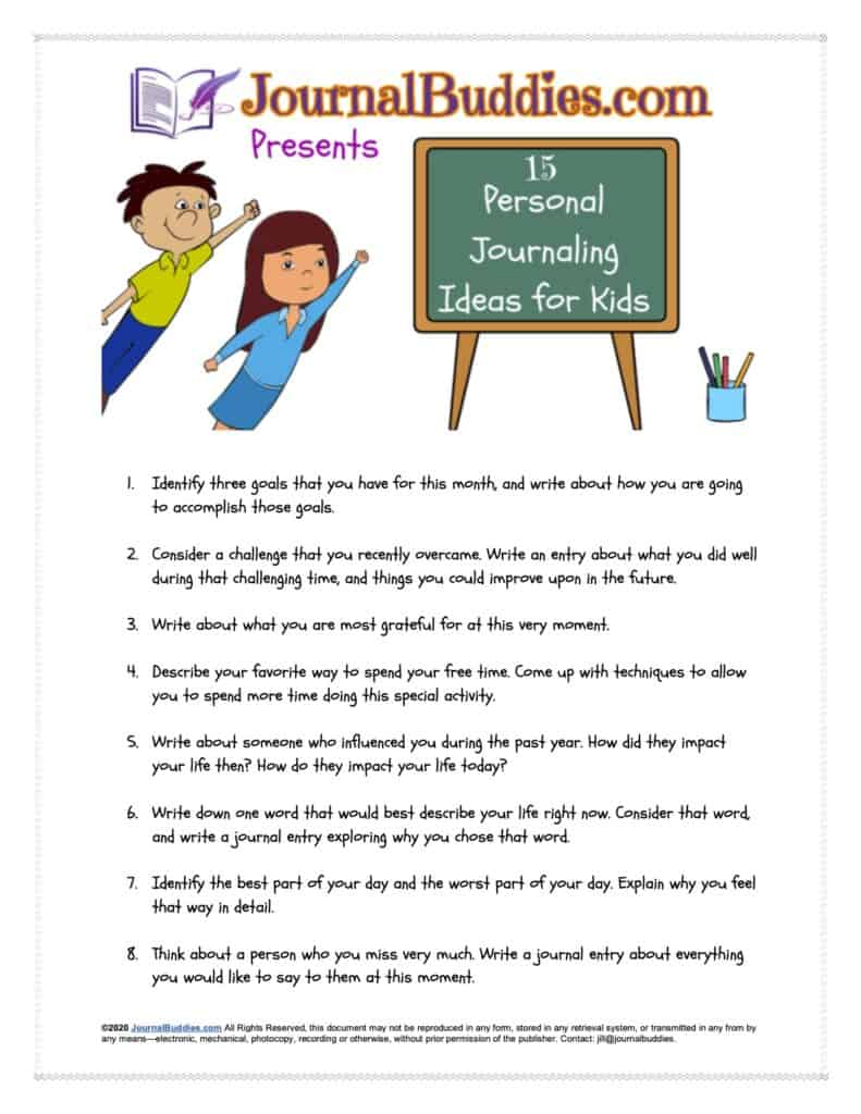 15 Personal Journaling Ideas for Kids FREE Printable