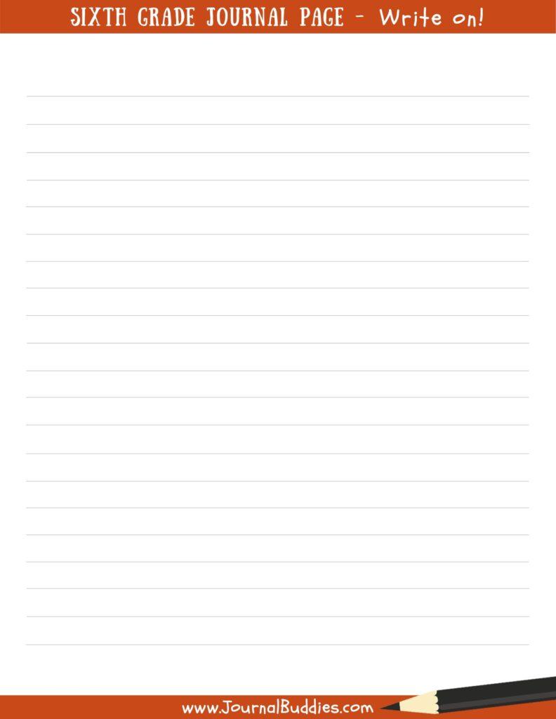 6th grade printable journl page