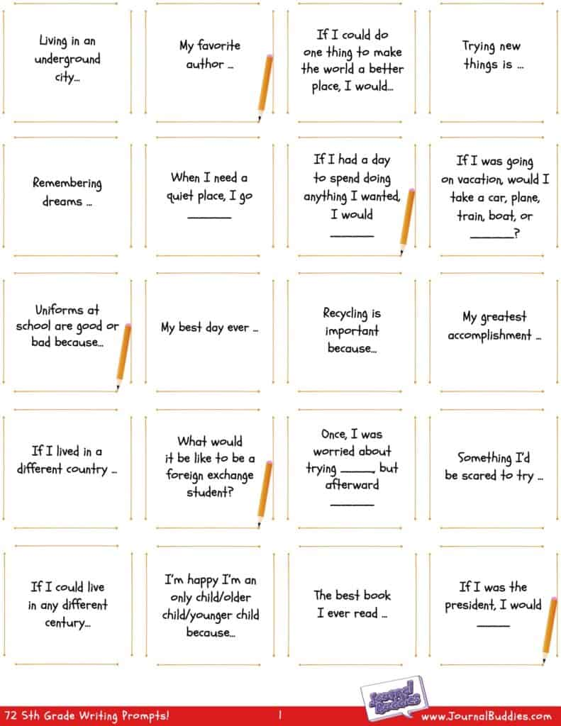 Grade 5 Printable Prompts