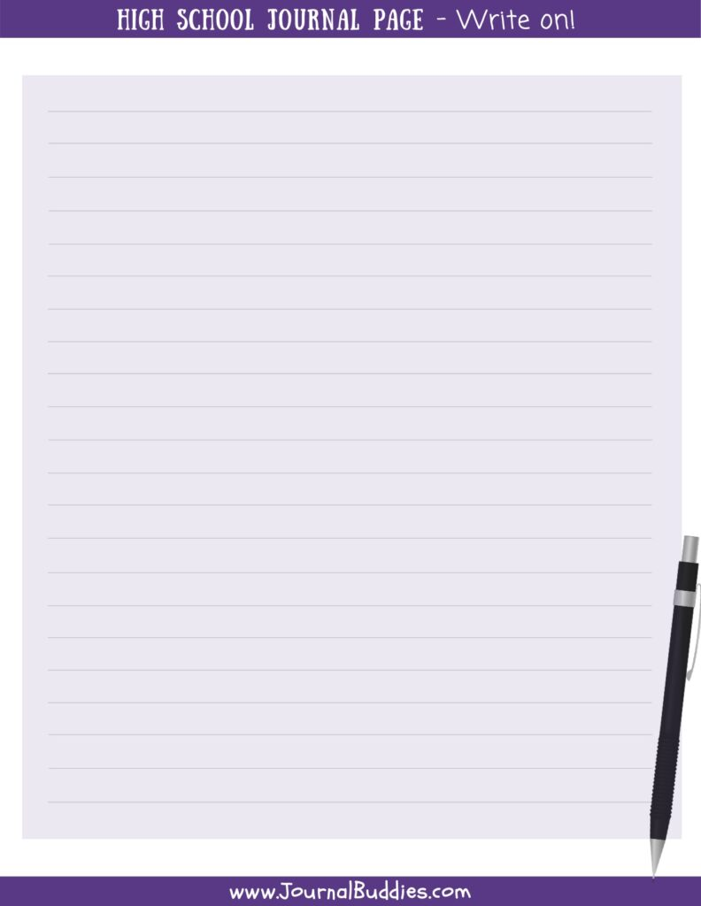 High School Printable Journal Page