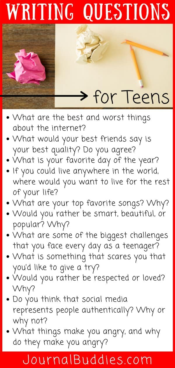 Writing Question List for Teens