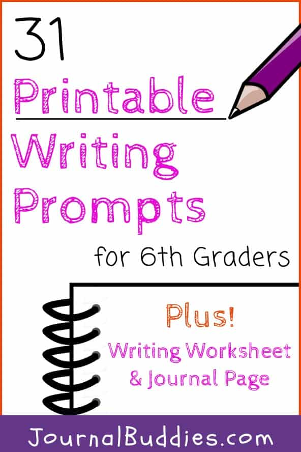 Middle School Grade 6 Writing Worksheets and Journal Prompt Printables