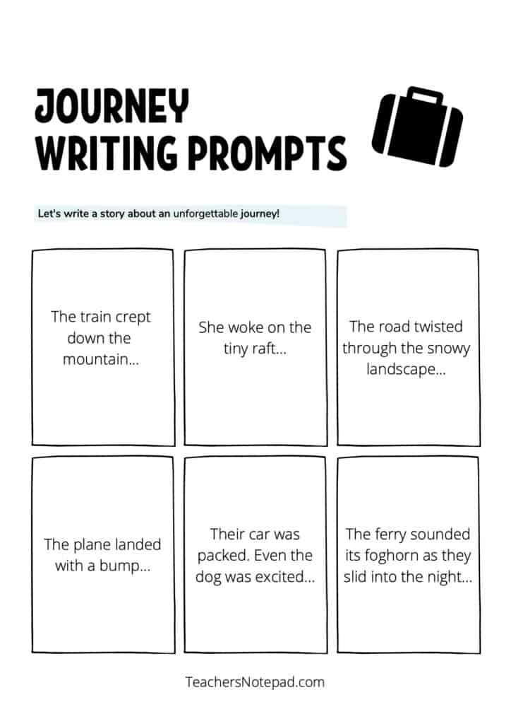 24 Journey Writing Prompts Printable