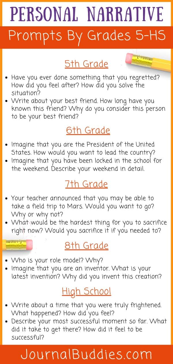 Kids Personal Narrative Writing Ideas by Grade