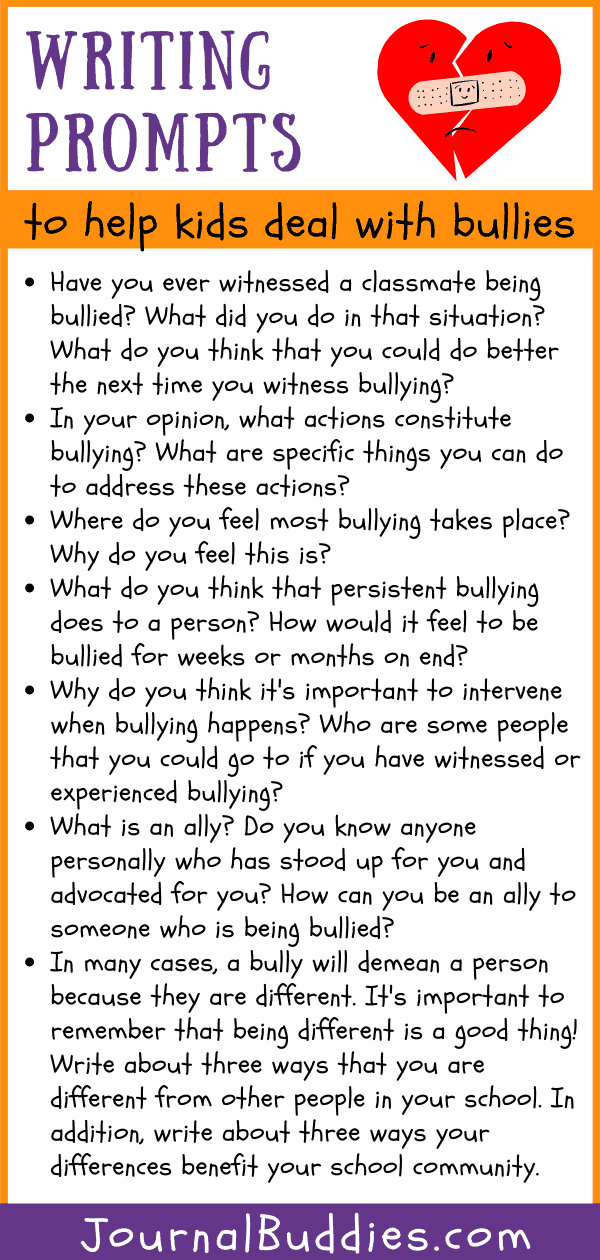 Journal Ideas to Help Students Deal with Bullies