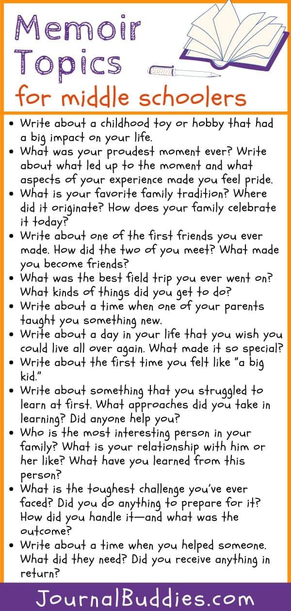 Memoir Writing Ideas for Middle School